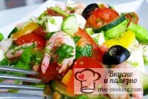Салат Легкость с креветками - рецепт