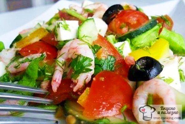 Салат «Легкость» с креветками
