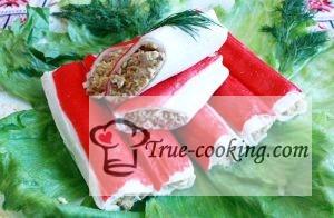 Крабовые палочки фаршированные печенью трески рецепт с фото