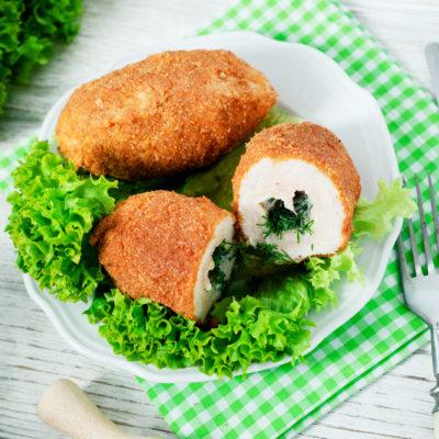 Котлета по-киевски с грибами и сыром