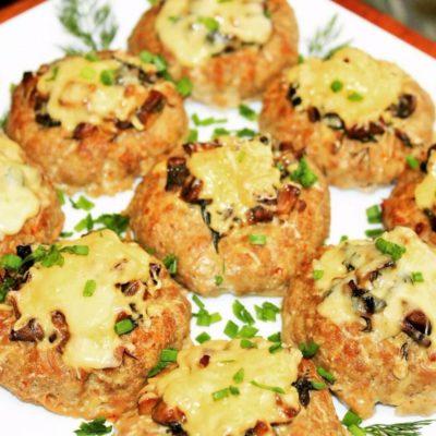 Мясные гнезда со сливочными грибами