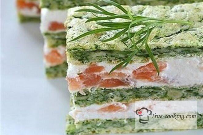 Пирог с лососем и шпинатом рецепт